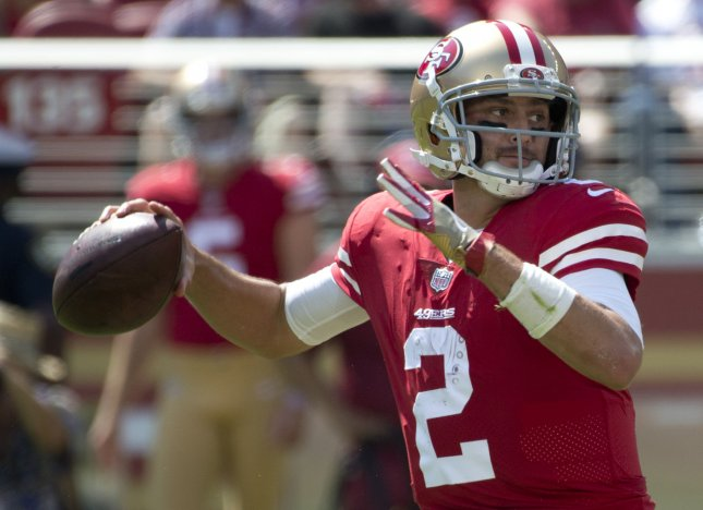 Brian Hoyer and the San Francisco 49ers are seeking their first win. Photo by Terry Schmitt/UPI