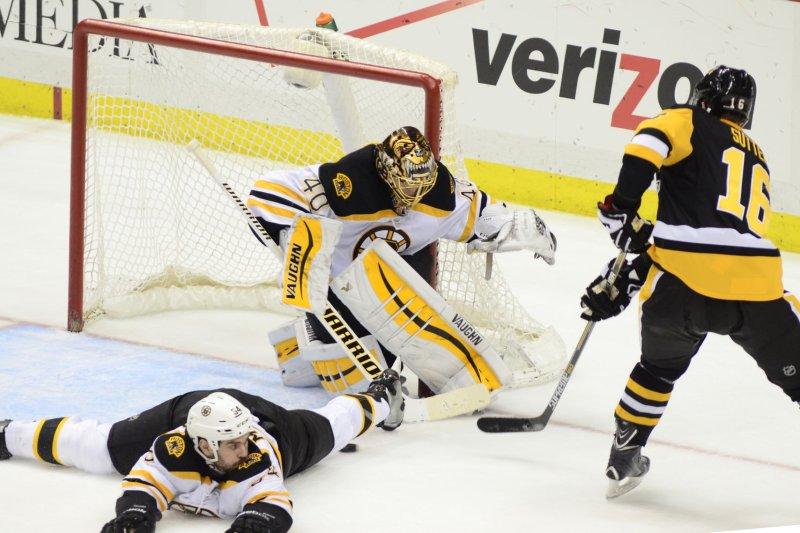 Boston Bruins goalie Tuukka Rask (C) was placed on injured reserve on Monday. File Photo by Archie Carpenter/UPI