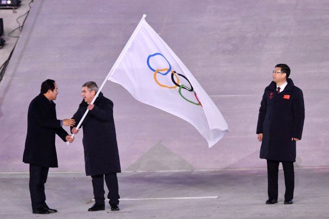 A flag handover ceremony at the closing ceremony of the 2019 Pyeongchang Winter Olympics. South Korea is looking to co-host the 2032 Summer Games wit the North. File Photo by Richard Ellis/UPI