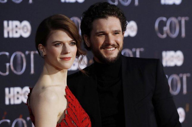 Kit Harington (R) and his wife Rose Leslie. The Jon Snow actor discussed wearing his Game of Thrones outfit to a costume party and appearing on Saturday Night Live on The Tonight Show. Photo by John Angelillo/UPI