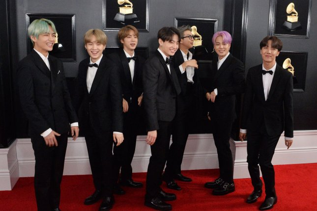 BTS arrives for the 61st annual Grammy Awards held at Staples Center in Los Angeles on February 10, 2019. Photo by Jim Ruymen/UPI