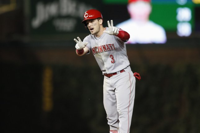 Cincinnati Reds second baseman Scooter Gennett has missed most of this season due to a groin injury. File Photo by Kamil Krzaczynski/UPI