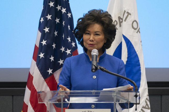 Among the allegations, Transportation Secretary Elaine Chao failed to divest from a company she owned shares in until a year after she said she would. File Photo by Joe Marino-Bill Cantrell/UPI