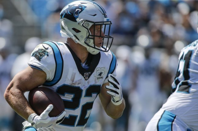 Carolina Panthers running back Christian McCaffrey (22) most likely will be the No. 1 overall pick in most fantasy football leagues this year. File Photo by Nell Redmond/UPI