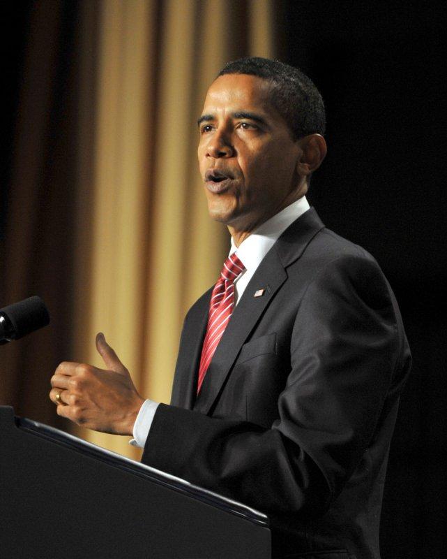 U.S. President Barack Obama speaks at the National Prayer Breakfast in Washington on February 5, 2009. (UPI Photo/Ron Sachs/Pool)