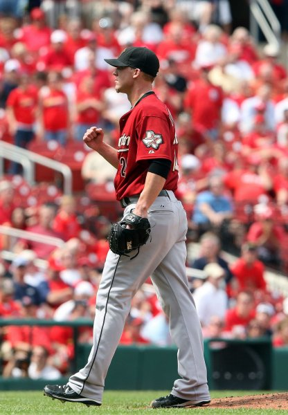 Houston Astros closing pitcher Matt Lindstrom pumps his fist after the third out and a 4-1 win over the St. Louis Cardinals at Busch Stadium in St. Louis on May 13, 2010. UPI/Bill Greenblatt