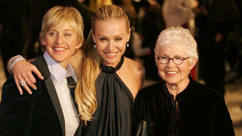 Oscar Host Ellen DeGeneres (L), with Portia de Rossi (C), and DeGeneres's mother Betty (R), also makes the list. (UPI Photo/Gary C. Caskey)