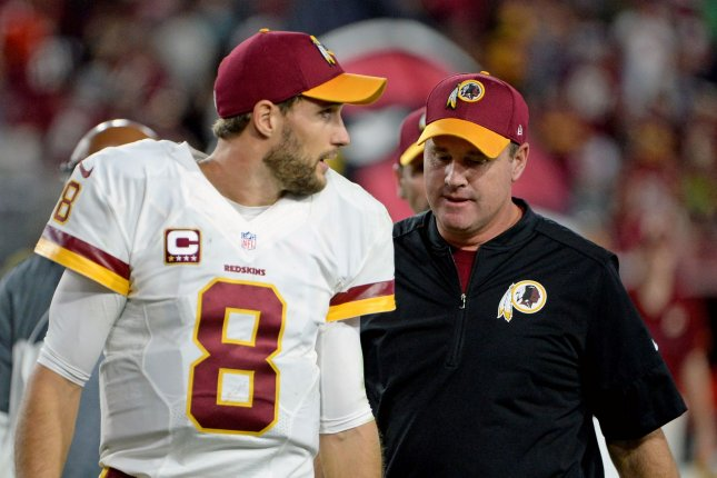 Washington Redskins' quarterback Kirk Cousins was named franchise player and head coach Jay Gruden received a two-year contract extension. File photo by Art Foxall/UPI