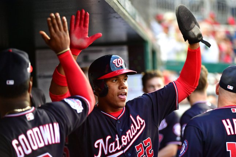 Washington Nationals right fielder Juan Soto (22) has 14 home runs on the season. Photo by Kevin Dietsch/UPI