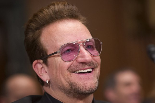 Bono, lead singer of the band U2, will be lending his voice to animated sequel Sing 2 along with Pharrell Williams and Halsey. File Photo by Kevin Dietsch/UPI