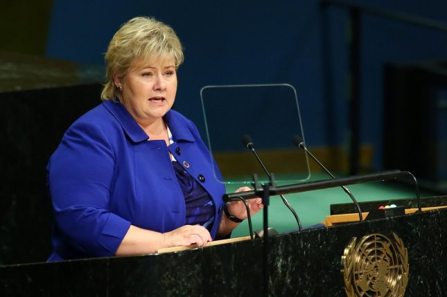 Erna Solberg, prime minister of Norway, speaks at the United Nations in New York City on Sept. 22. Solberg was caught on camera Tuesday playing popular smartphone game Pokemon Go during a debate in the country's parliament. Photo by Monika Graff/UPI