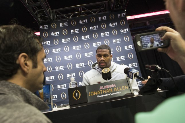 Alabama Crimson Tide Defensive Lineman Jonathan Allen talks to reporters on media day prior to the NCAA Football National Championship, in Tampa, Florida on January 7, 2017. Allen is a top 10 propsect to be picked in the first round during the 2017 NFL Draft. Photo by Kevin Dietsch/UPI