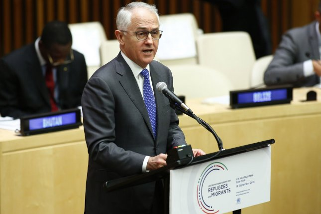 Malcolm Turnbull, prime minister of Australia, pictured in September 2016 at the United Nations in New York, said at a press conference Monday that U.S. President Donald Trump had agreed to uphold a deal made with previous President Barack Obama to accept Australian refugees in exchange for U.S.-held refugees in Costa Rica. File photo by Monika Graff/UPI