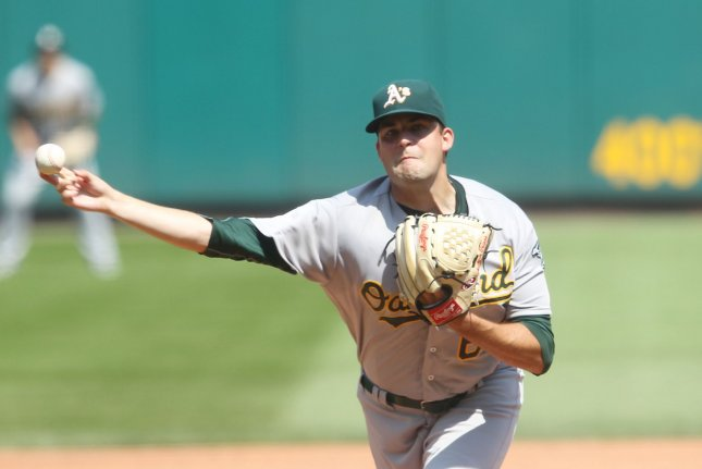Oakland Athletics starting pitcher Andrew Triggs delivers a pitch. File photo by Bill Greenblatt/UPI