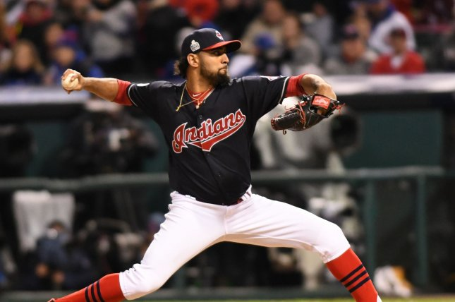 Cleveland Indians pitcher Danny Salazar is being sent to the bullpen to work on his pitches and confidence. File photo by Kyle Lanzer/UPI