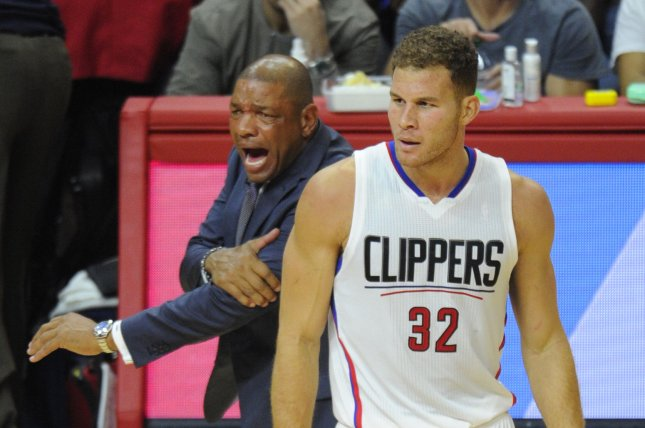 Los Angeles Clippers head coach Doc Rivers yells at the referee after former Clippers forward Blake Griffin (32) was fouled by the Dallas Mavericks in the first half of the game on October 29, 2015 at Staples Center in Los Angeles. File photo by Lori Shepler/UPI