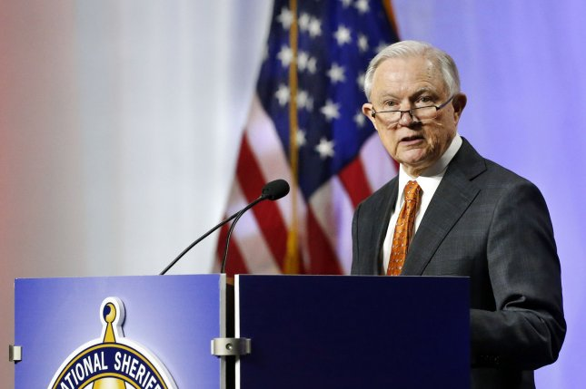 U.S. Attorney General Jeff Sessions speaks Monday at the National Sheriffs Association Annual Conference in New Orleans, La., at which he repeated the administration's stance on tough immigration enforcement. Photo by AJ Sisco/UPI