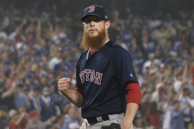 Boston Red Sox reliever Craig Kimbrel clenches his fist celebrating win over the Los Angeles Dodgers in Game 4 of the World Series at Dodger Stadium on October 27, 2018. Photo by Jim Ruymen/UPI