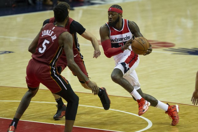 Washington Wizards point guard John Wall (2) dribbles during the game between the Miami Heat and Washington Wizards on October 18, 2018 at Capital One Arena in Washington, DC. Photo by Alex Edelman/UPI