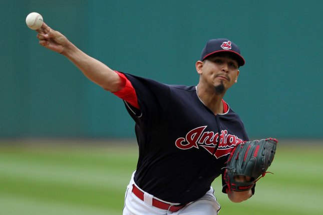 Cleveland Indians pitcher Carlos Carrasco is 4-6 with a 4.98 ERA this season. File Photo by Aaron Josefczyk/UPI
