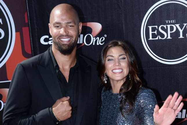 Former soccer star Hope Solo and husband Jerramy Stevens welcomed twins March 4. File Photo by Jim Ruymen/UPI