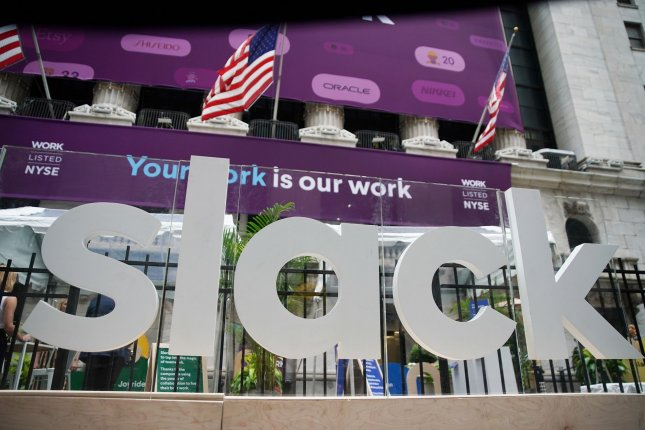 The Slack logo is seen outside the New York Stock Exchange on June 20, 2019, during the company's initial public offering. File Photo by John Angelillo/UPI