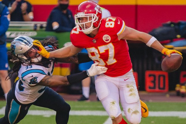 Travis Kelce (87) of the Kansas City Chiefs leads all tight ends in receiving yards and touchdowns and ranks No. 1 at the position in my Week 11 rankings. File Photo by Kyle Rivas/UPI
