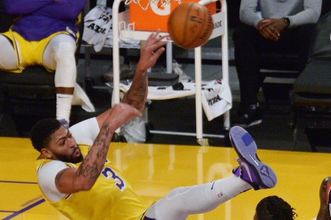 Los Angeles Lakers forward Anthony Davis missed the entire second half of a loss to the Denver Nuggets on Sunday due to an Achilles injury. File Photo by Jim Ruymen/UPI
