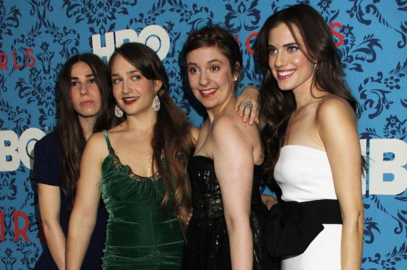 Zosia Mamet, Jemima Kirke, Lena Dunham and Allison Williams arrive for the HBO premiere of Girls at the SVA Theater in New York on April 4, 2012. UPI /Laura Cavanaugh