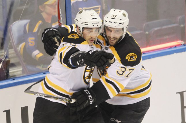 Boston Bruins Patrice Bergeron (R) congratulates Brad Marchand after he scores a goal. Marchand and the Bruins face off against the Ottawa Senators in Round 1 of the 2017 NHL playoffs. File photo by Bill Greenblatt/UPI