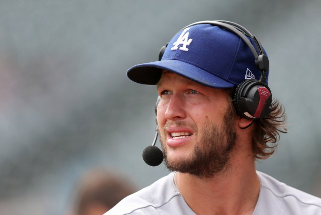 15fd8dd2a Los Angeles Dodgers Clayton Kershaw looks out over the field as he does a  pregame interview prior to a game against the Cleveland Indians at  Progressive ...