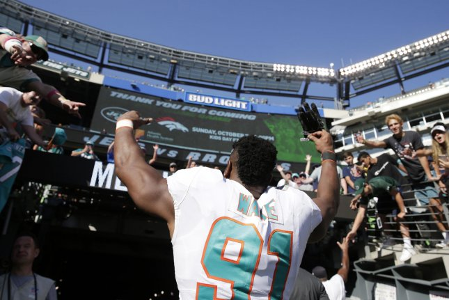 Miami Dolphins Cameron Wake walks off of the field after the game against the New York Jets in week 2 of the NFL season at MetLife Stadium in East Rutherford, New Jersey on September 16, 2018. The Dolphins defeated the Jets 20-12. Photo by John Angelillo/UPI