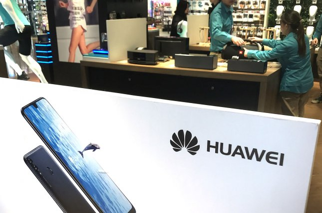 Huawei products are for sale in a Beijing showroom. File Photo by Stephen Shaver/UPI