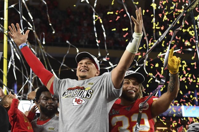 Kansas City Chiefs quarterback Patrick Mahomes most likely will be one of the highest-rated players in newly released NFL video games in 2020 and 2021. File Photo by Kevin Dietsch/UPI