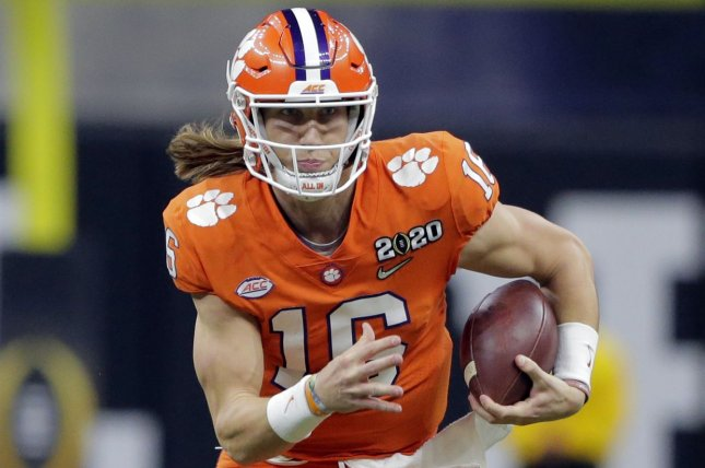 Clemson quarterback Trevor Lawrence could opt out of the college football season in 2020 and still be a top NFL Draft pick, but his school and the Atlantic Coast Conference still plan to play football this fall amid the coronavirus pandemic. File Photo by AJ Sisco/UPI