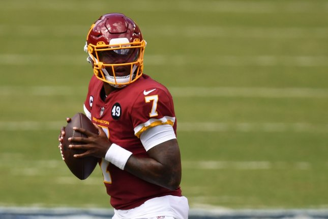 Washington Football Team quarterback Dwayne Haskins was fined $4,833 for the violation. File Photo by Kevin Dietsch/UPI