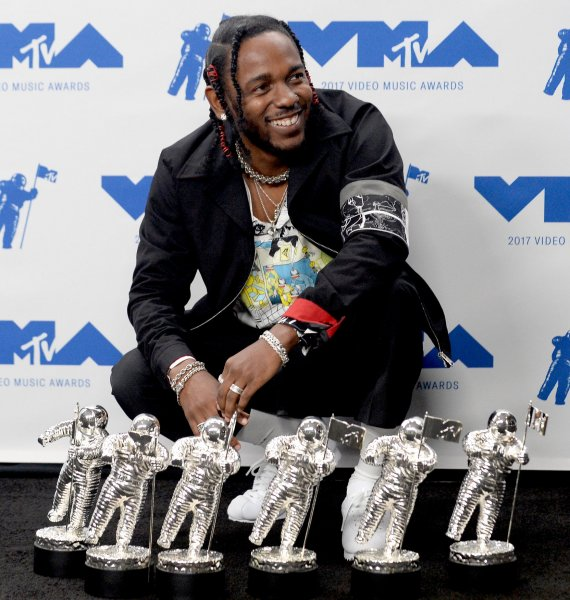 Kendrick Lamar -- winner of Video of the Year, Best Hip Hop, Best Cinematography, Best Director, Best Art Direction and Best Visual Effects -- at the 34th annual MTV Video Music Awards in Inglewood, California, in 2017. MTV turns 40 Sunday. File Photo by Jim Ruymen/UPI