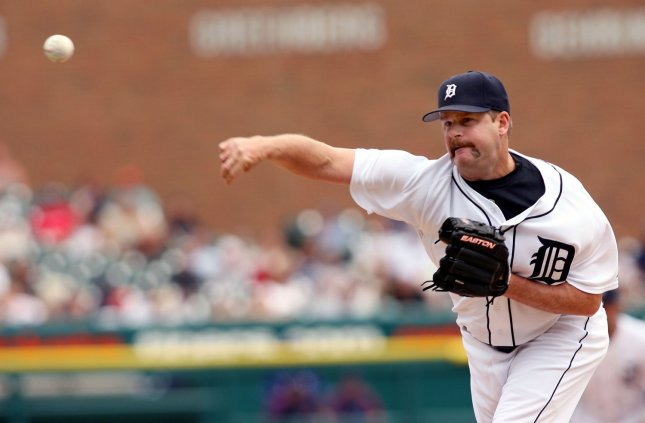 Detroit Tigers closing pitcher Todd Jones throws to Texas Rangers' Frank Catalanotto to start the ninth inning at Comerica Park in Detroit on June 28, 2007. The Tigers defeated the Rangers 5-2. (UPI Photo/Scott R. Galvin)