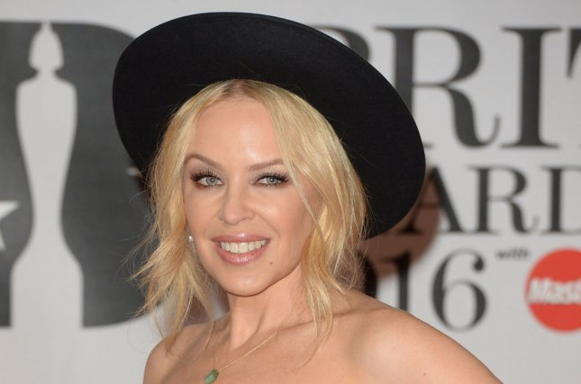 Kylie Minogue at the Brit Awards on Wednesday. File Photo by Rune Hellestad/UPI