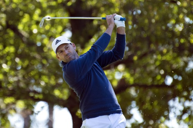 Sergio Garcia hits off of the 4th tee box during his second round at the 2017 Masters Tournament at Augusta National Golf Club in Augusta, Georgia on April 7, 2017. Photo by Kevin Dietsch/UPI