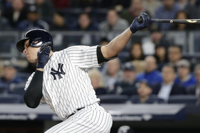 New York Yankees Aaron Judge, shown here from a game earlier this month, hit his first career grand slam to lead the victory over Oakland on Sunday. File photo by John Angelillo/UPI