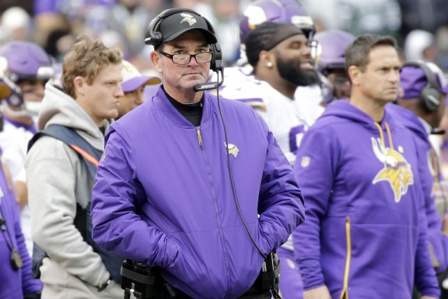 Minnesota Vikings head coach Mike Zimmer stands on the sidelines in the first half against the New York Jets at MetLife Stadium in East Rutherford, New Jersey on October 21, 2018. Photo by John Angelillo/UPI