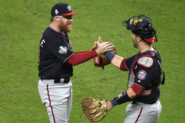 Pitcher Sean Doolittle (L) and other Washington Nationals offered to help pay players' weekly stipends in the team's minor league system before the team decided not to reduce the payments. File Photo by Trask Smith/UPI