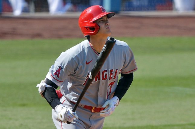 Los Angeles Angels pitcher/designated hitter Shohei Ohtani hit the fastest home run and threw the fastest pitch of the MLB season Sunday in Anaheim, Calif. File Photo by Jim Ruymen/UPI