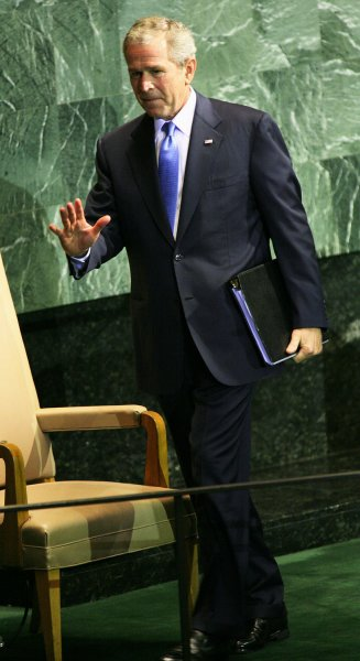 United States President George W. Bush waves as he leaves the podium following his address to the 63rd session of the General Assembly of the United Nations at the UN on September 23, 2008 in New York City. (UPI Photo/Monika Graff)