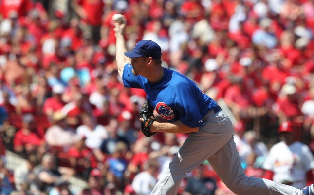 Chicago Cubs pitcher Kerry Wood, shown in this May15, 2012, file photo against the St. Louis Cardinals in St. Louis, announced he has retired from baseball in Chicago on May 18, 2012. UPI/Bill Greenblatt