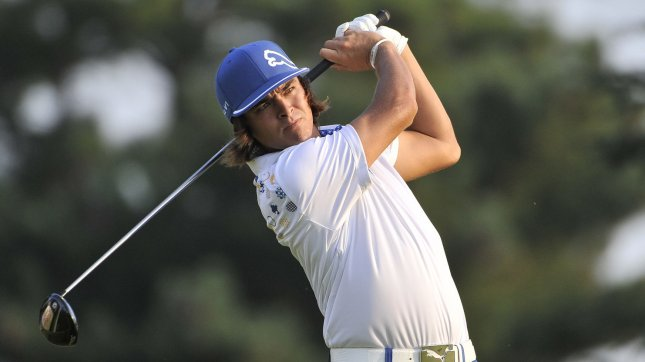 Rickie Fowler hits his tee shot on the 10th hole during the second round of the 93rd PGA Championship at the Atlanta Athletic Club on August 12, 2011 in Johns Creek, Georgia. UPI/Brian Kersey