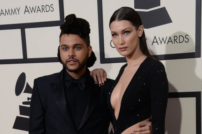 Bella Hadid (R) and The Weeknd at the Grammy Awards on February 15. File Photo by Jim Ruymen/UPI