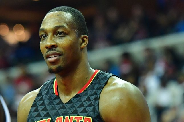 Atlanta Hawks center Dwight Howard (8) is seen in action against the Washington Wizards in the third quarter of Game 2 of the Eastern Conference Quarterfinals at the Verizon Center in Washington, D.C. on April 19, 2017. File photo by Kevin Dietsch/UPI