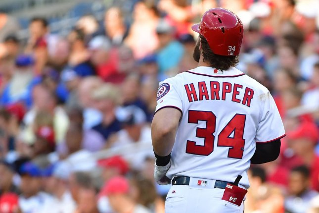 Washington Nationals OF Bryce Harper runs down the first base line in the first inning against the Chicago Cubs Tuesday at Nationals Park in Washington, D.C. Photo by Kevin Dietsch/UPI
